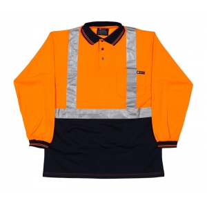 Hi Visibility Poly Cotton Polo Shirt Taped - Long Sleeve