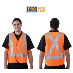 Fluro Yellow X Back Safety Vest - Day/Night Use